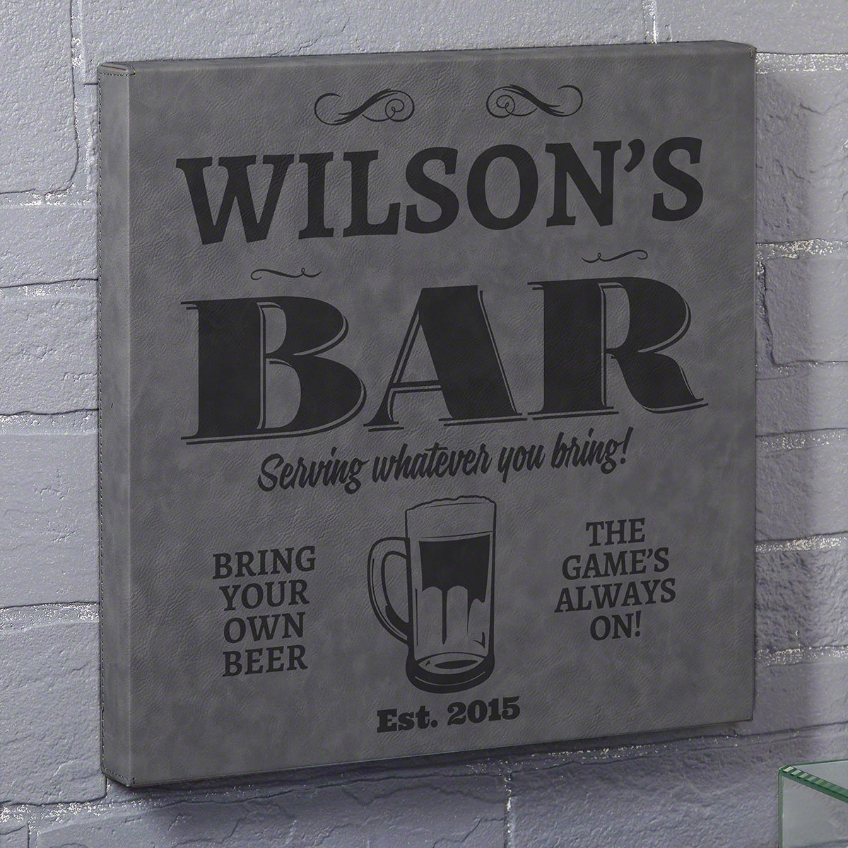 Neighborhood Bar Gray Leatherette Canvas Custom Bar Sign