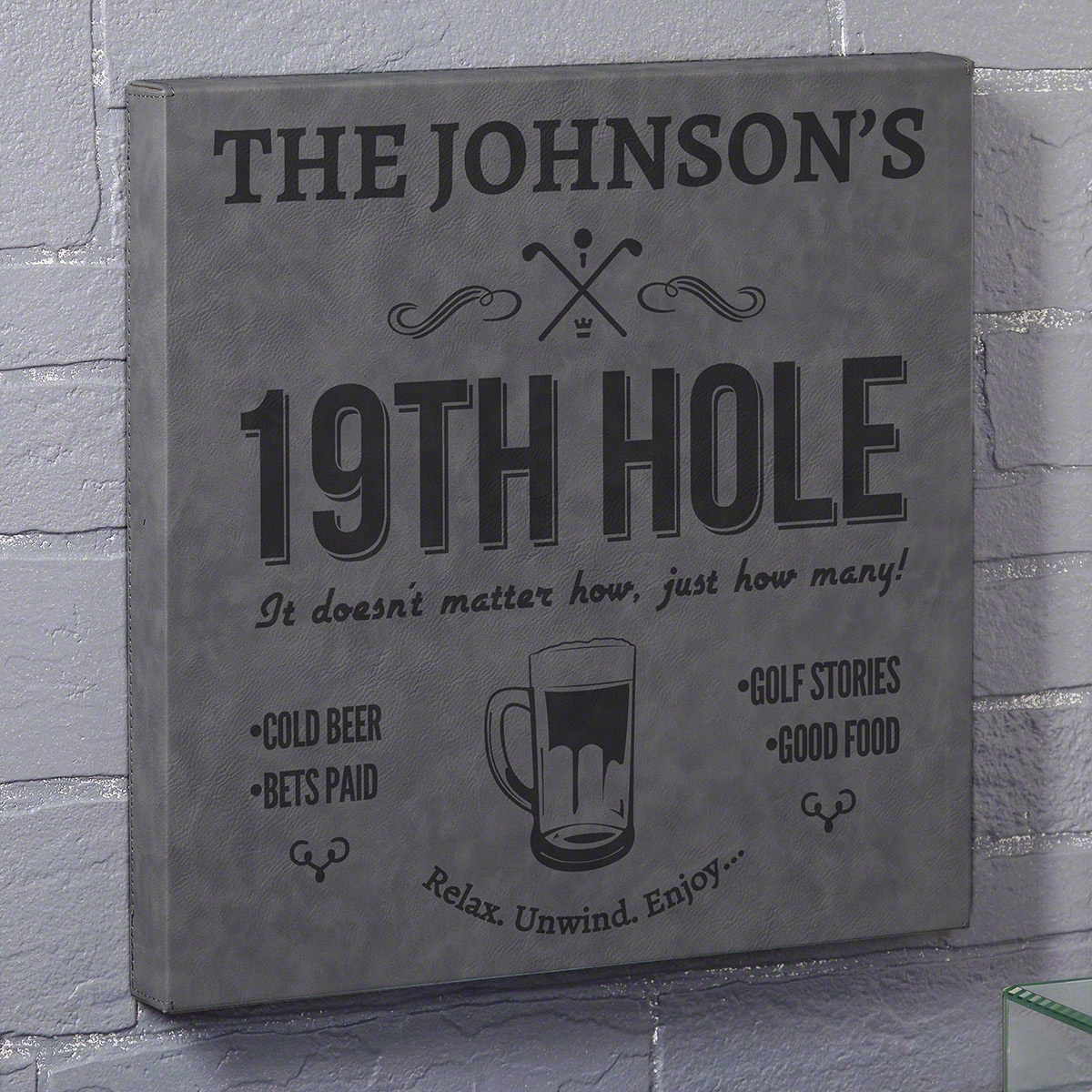 Do you and your friends often find yourself at a specific home bar after playing 18 holes? Make your regular 19th hole an official last stop with this awesome custom bar sign. Made of leatherette and laser engraved, it comes personalized with a name of yo #bar