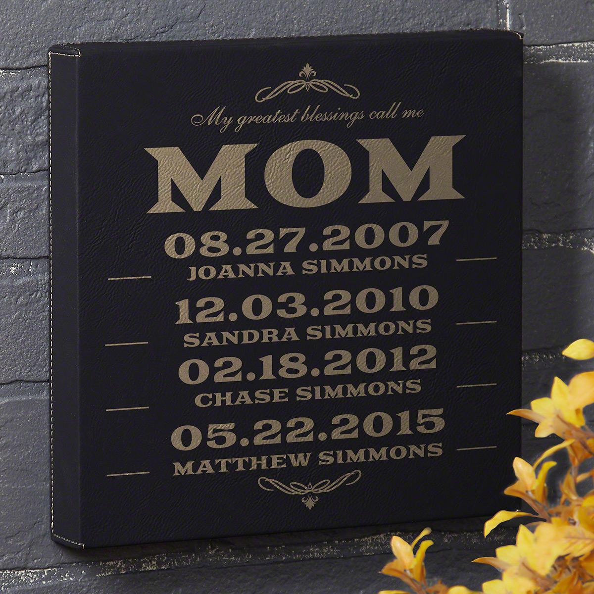 Moms-Greatest-Blessings-Custom-Black-Leatherette-Canvas-Gift-for-Mom