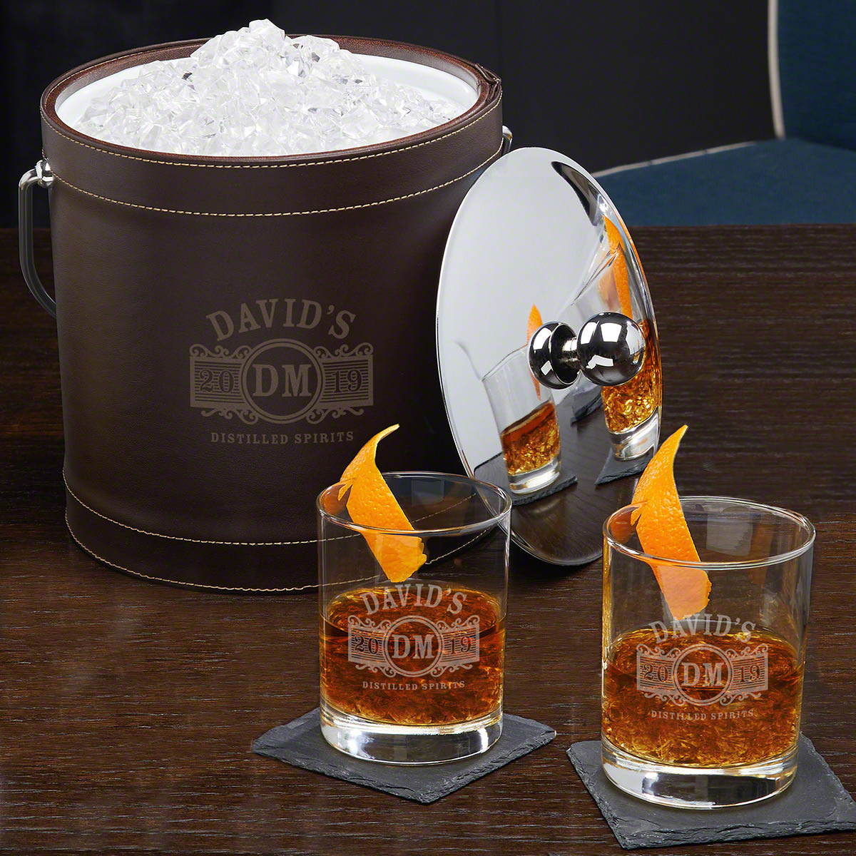 Marquee-Custom-Leather-Ice-Bucket-and-Cocktail-Gift-Set