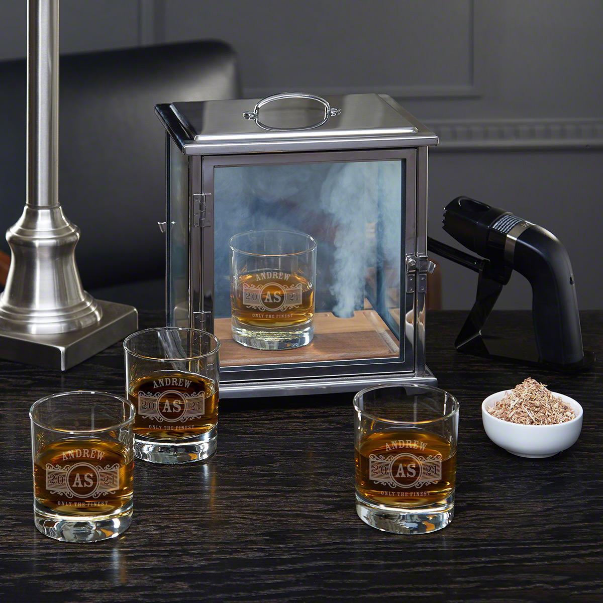 Advanced Smoke Box Kit with Marquee Custom Whiskey Glasses