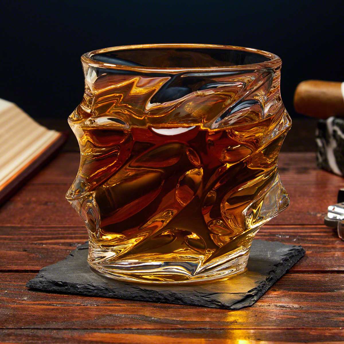 Sculpted Unique Whiskey Glass