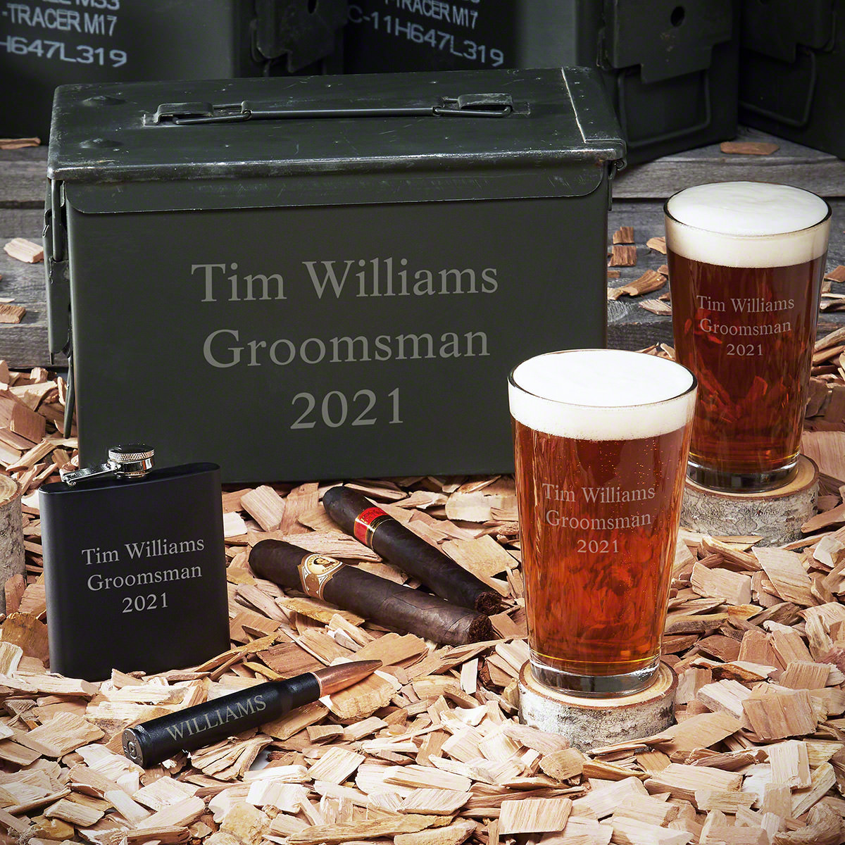 50 Caliber Personalized Ammo Box Gift Set