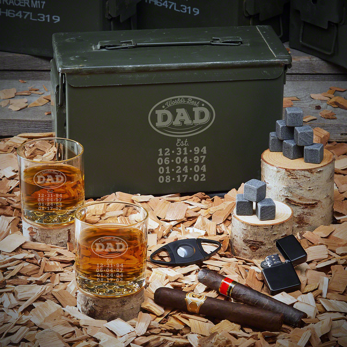 Your dad had his hands full raising a household of kids, but he loved every second of it. Now you can show your appreciation with one of those custom and unique gifts for Dad. A genuine U.S. military 50-caliber ammo can filled to the brim with his favorit #best