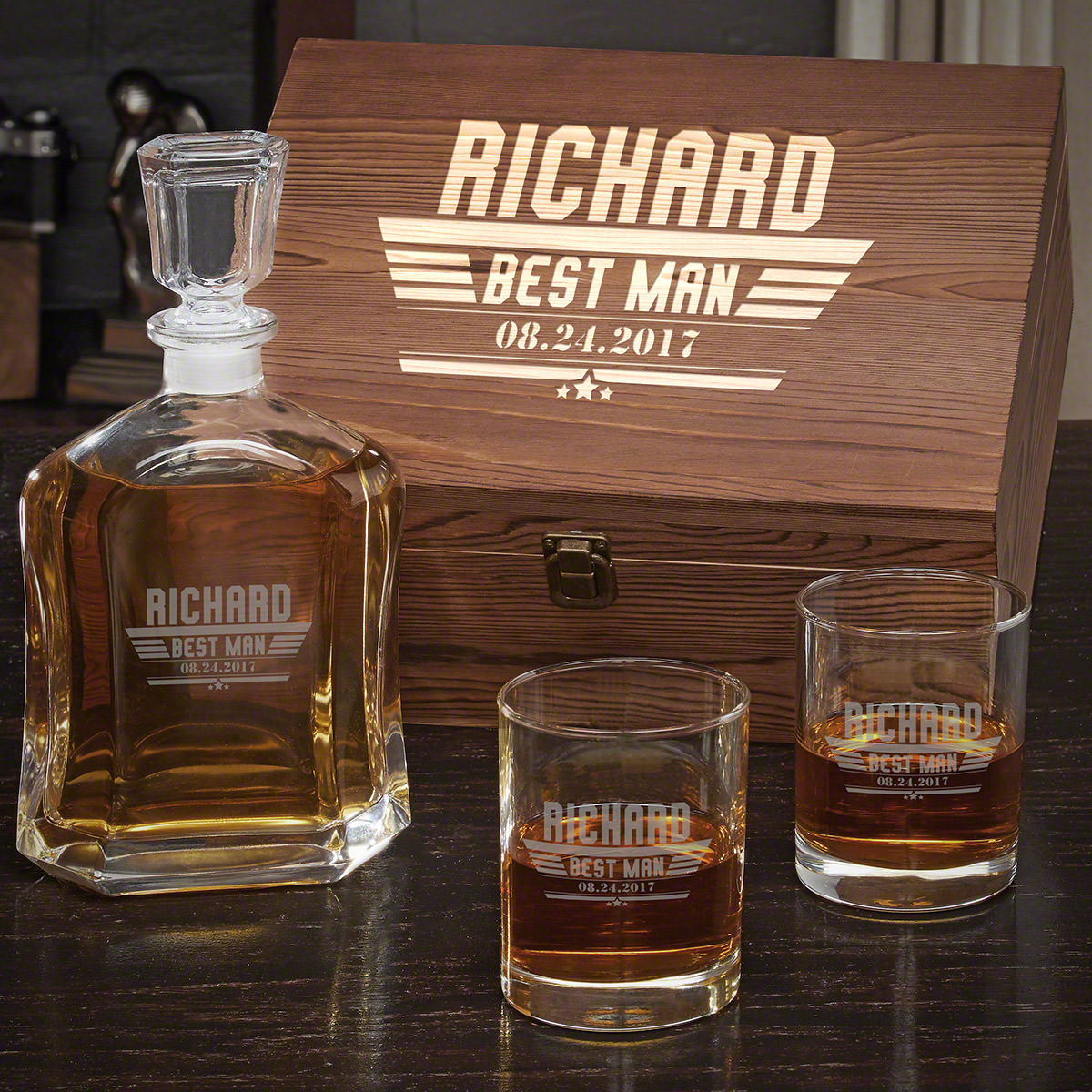 Maverick-Custom-Argos-Decanter-Whiskey-Box-Set-with-Eastham-Glasses-e28093-Gift-for-Groomsmen