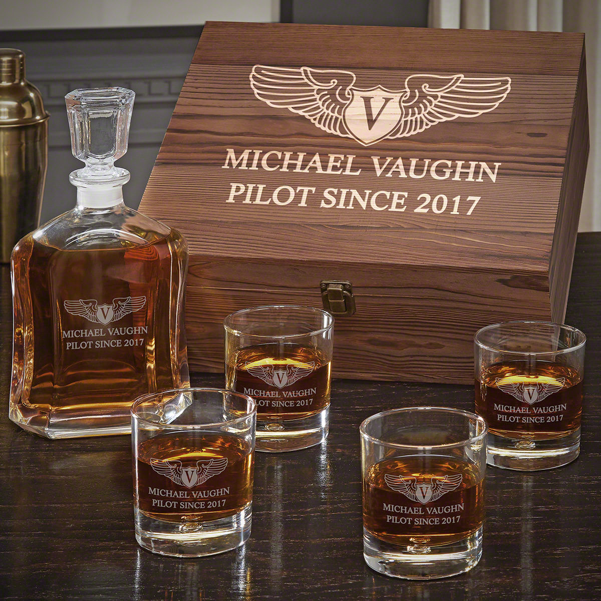 Take Flight Custom Whiskey Gift Set for Pilots