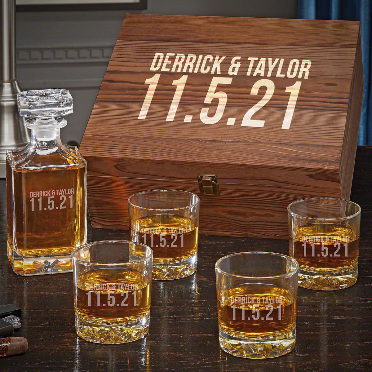 Better Together Carson Decanter Custom Whiskey Gift Set for Couples with Fairbanks Glasses