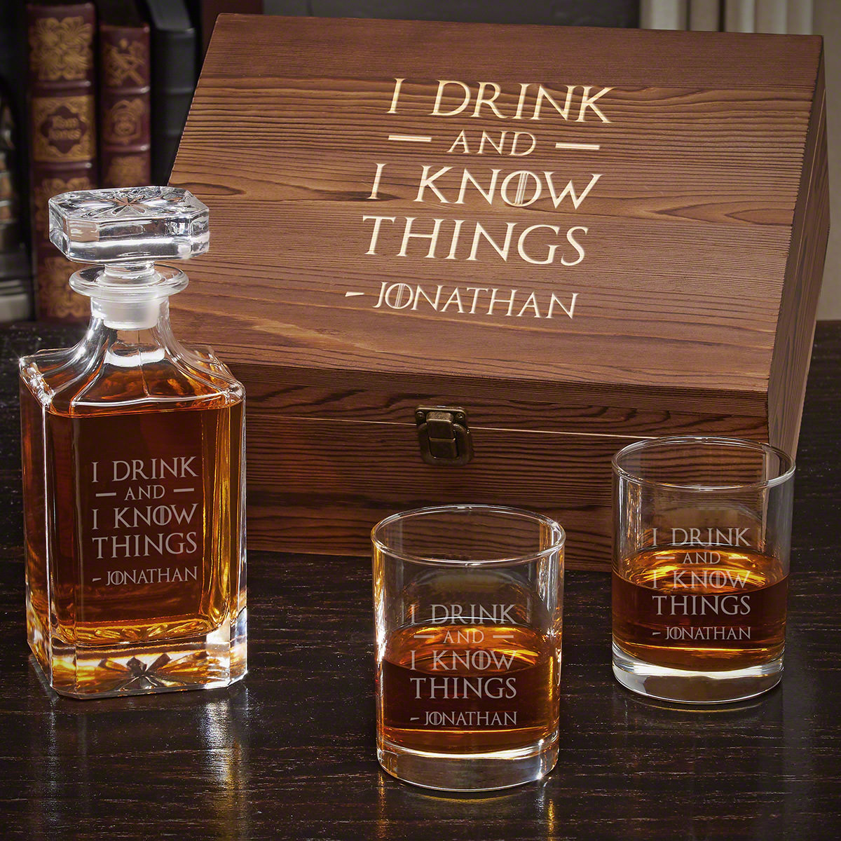 I Drink and I Know Things Personalized Carson Decanter Whiskey Gift Set for Men with Eastham Glasses