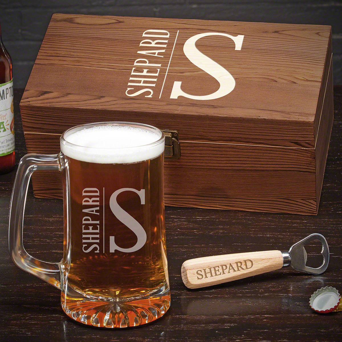 Every beer lover deserves something special for one of their favorite pastimes. Our personalized beer mug gift set gives any guy all they need to enjoy their favorite brew. The beer mug will give them the bar experience in their own home. The included bot #mug