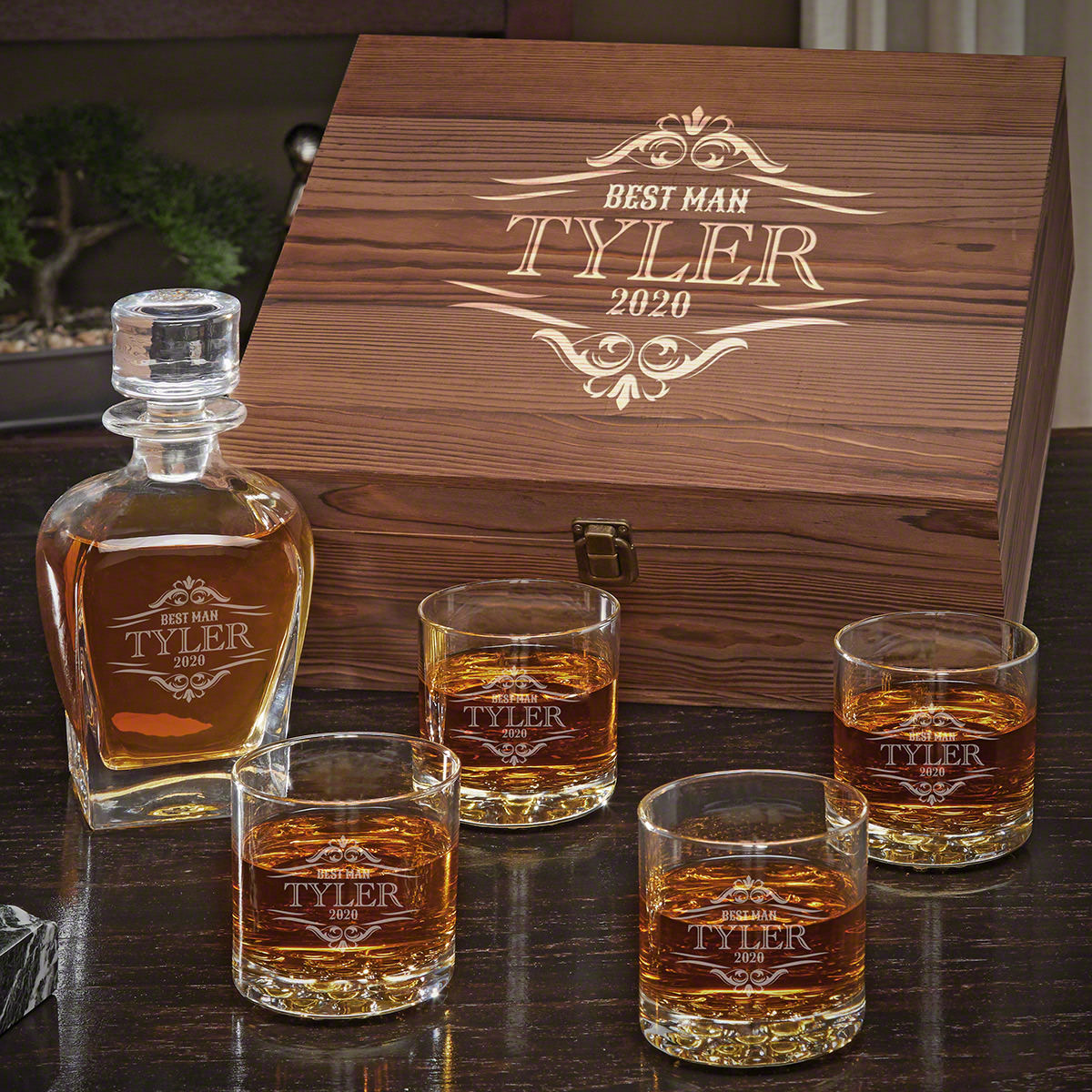 Wilshire Draper Decanter Personalized Whiskey Gift Set with Buckman Glasses