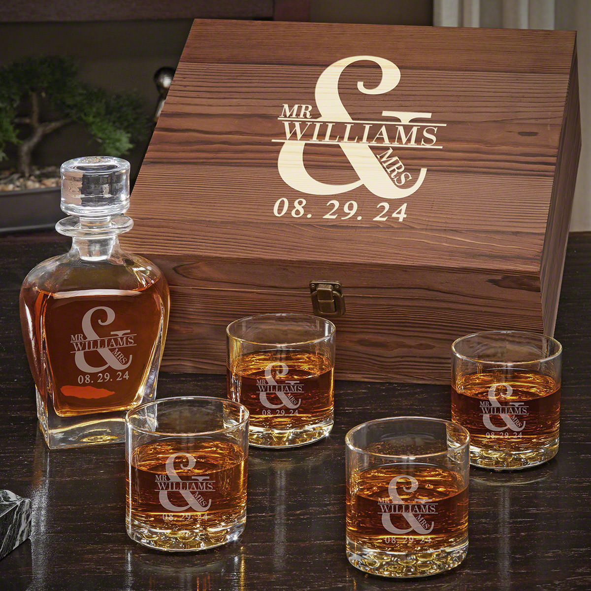 Love & Marriage Draper Decanter Set with Buckman Glasses – Personalized Gift for Couples