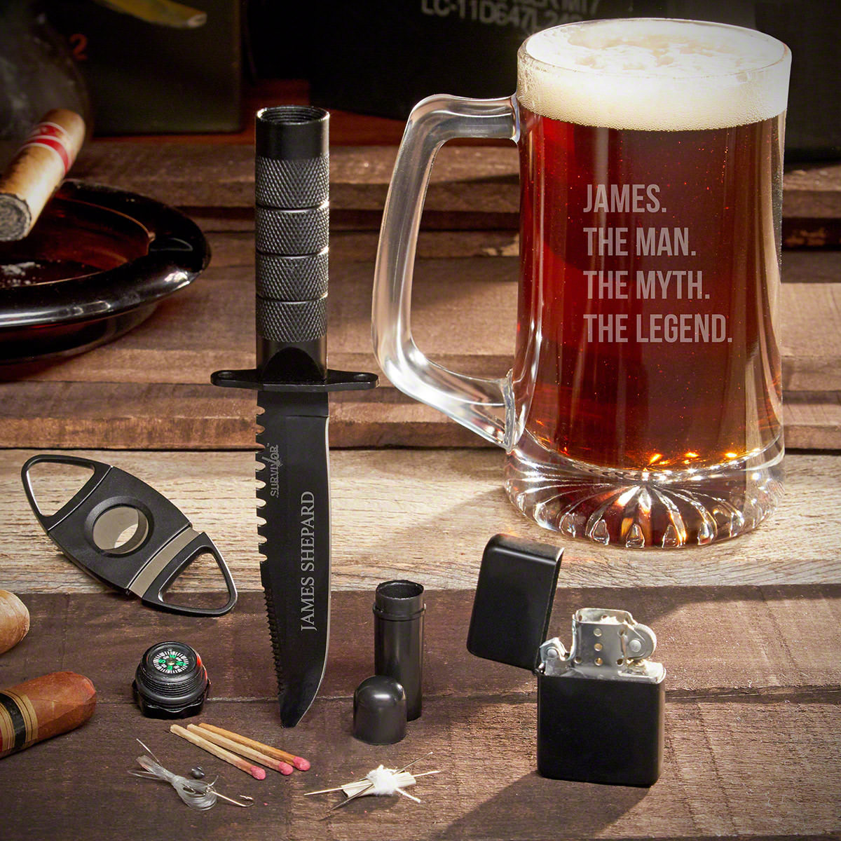 A legend amongst legends will have every tool needed for the job. Our custom beer mug gift set looks to make legends out of any interested man. The tactical knife comes with a compass, sewing kit, matches, fishing line, hook, and split shot weight. A flip #mug