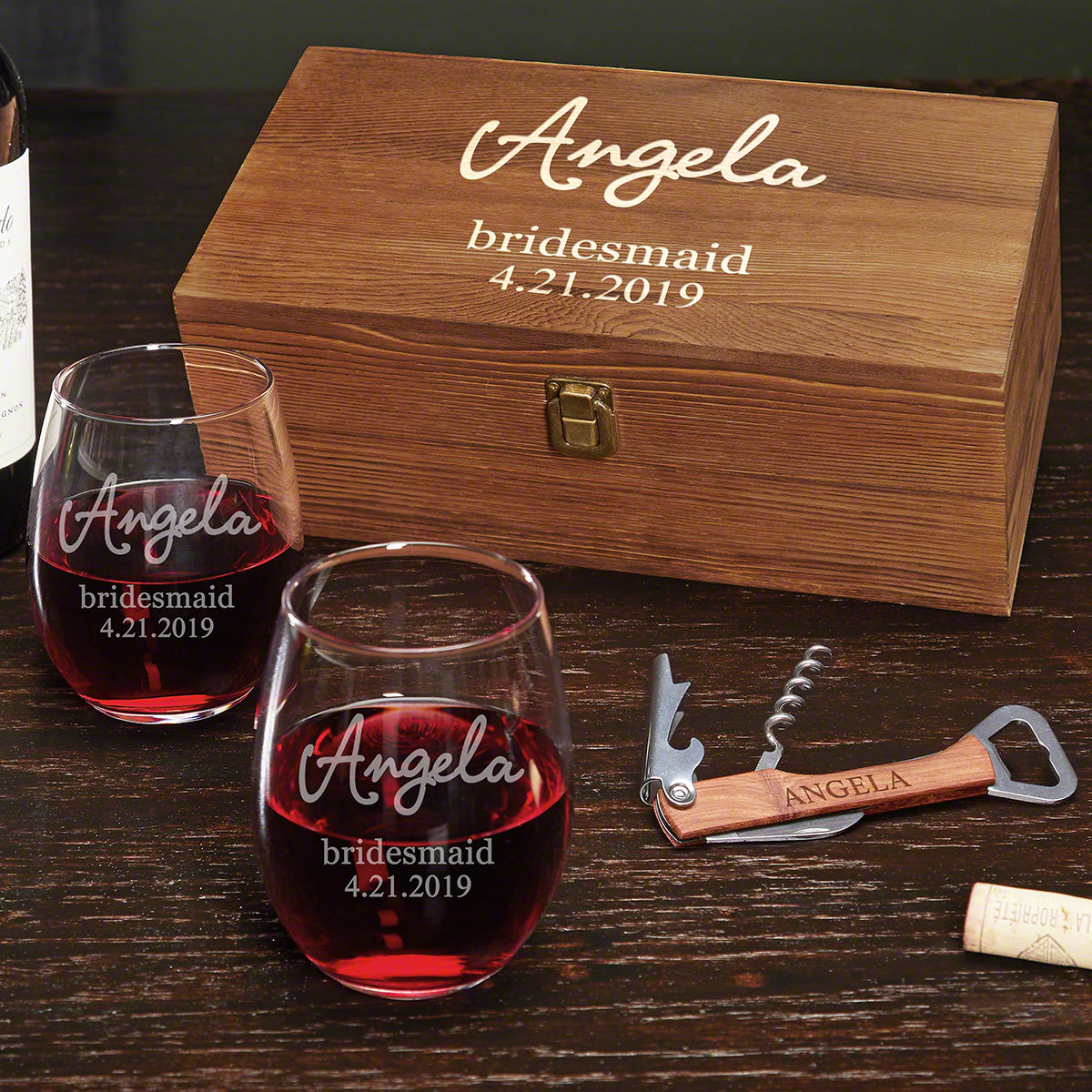 Personalized Gifts: Radiant Personalized Wine Bridesmaid Gift Set