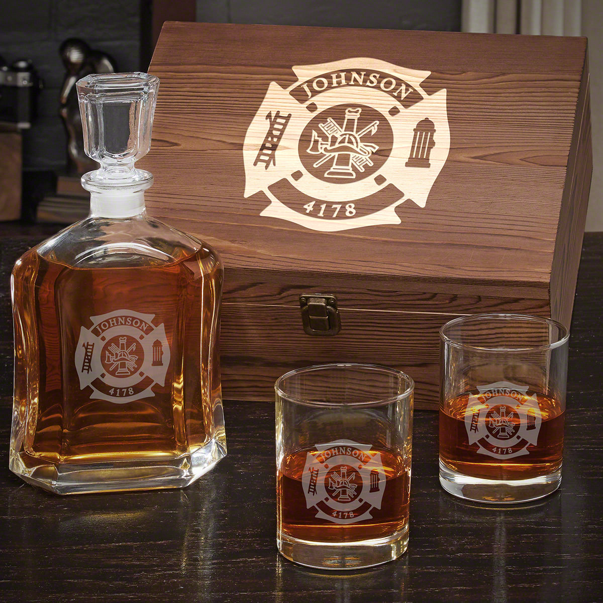 Fire and Rescue Argos Decanter Personalized Whiskey Set with Eastham Glasses - Gift for Firefighters