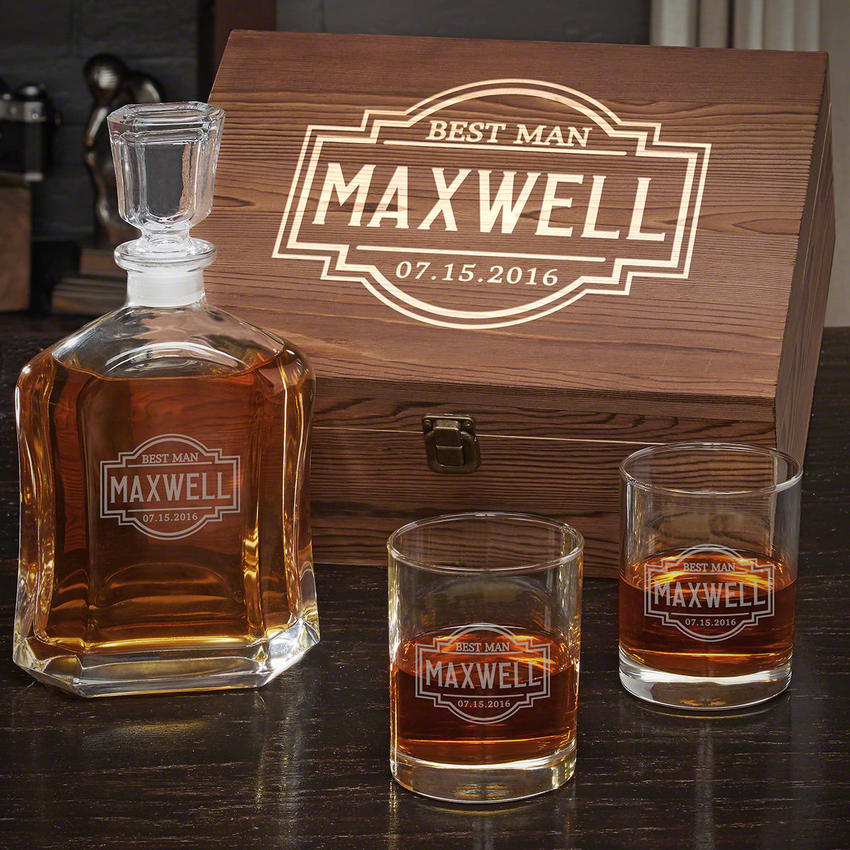 Fremont Personalized Whiskey Argos Decanter Set with Eastham Glasses