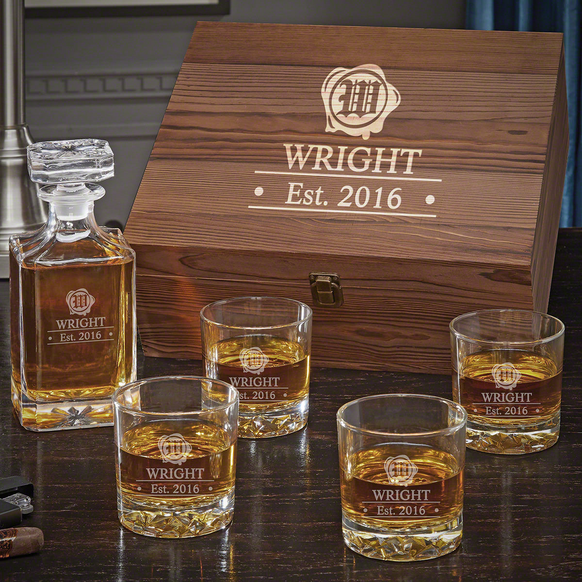 Wax Seal Personalized Whiskey Box Set