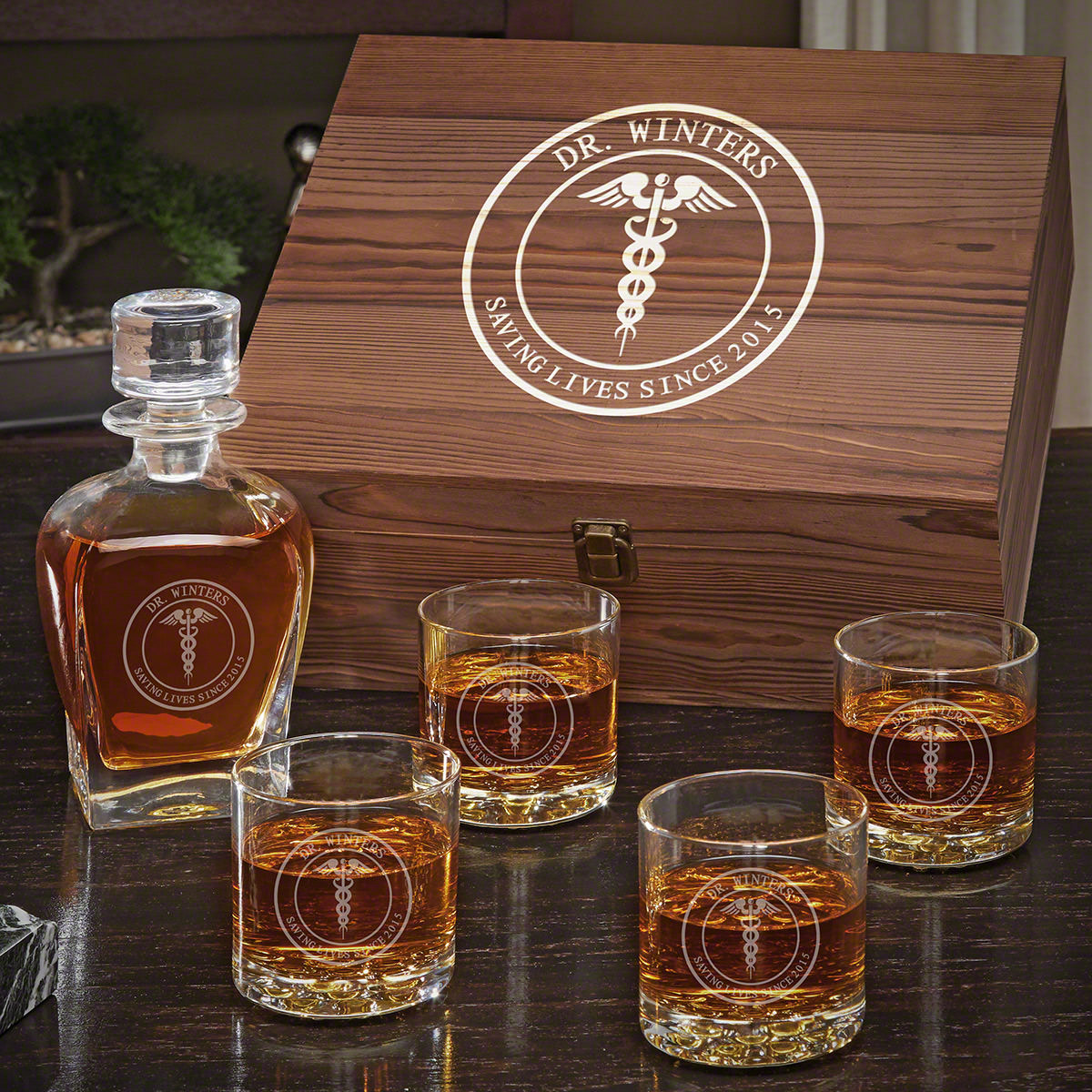 Medical Arts Personalized Whiskey Draper Decanter Set with Buckman Glasses - Gift for Doctors