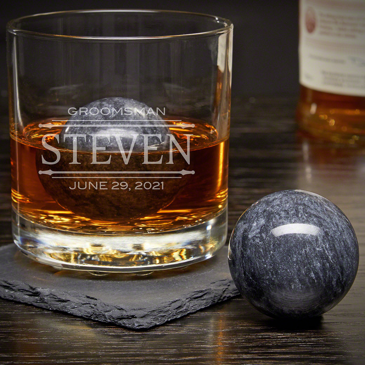 Stanford Custom Rocks Glass with Whiskey Spheres