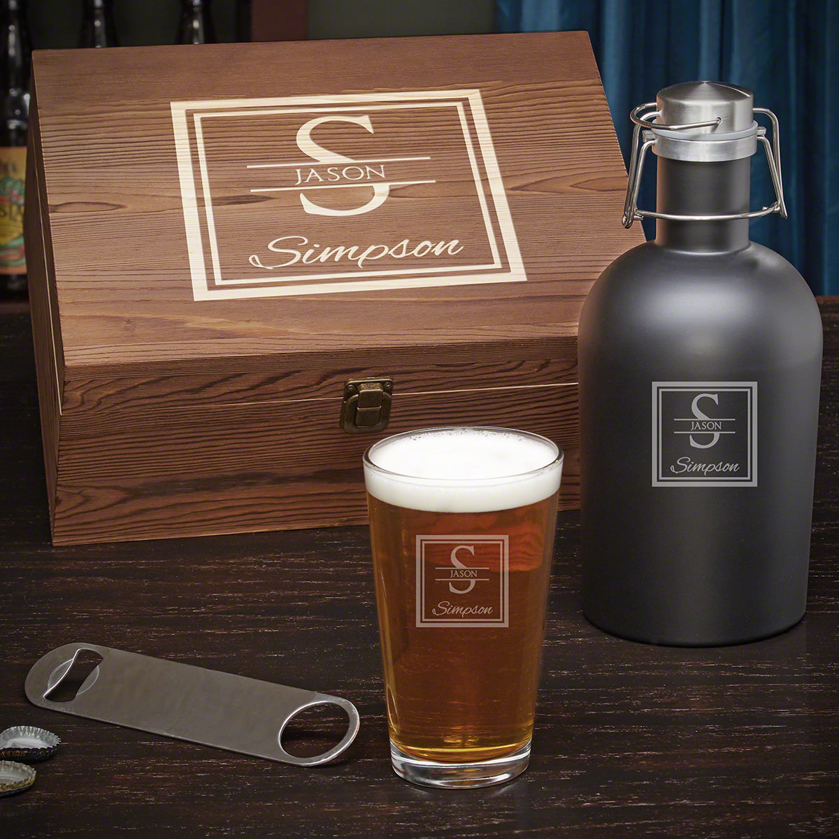 Oakhill Personalized Wood Box Beer Gift Set