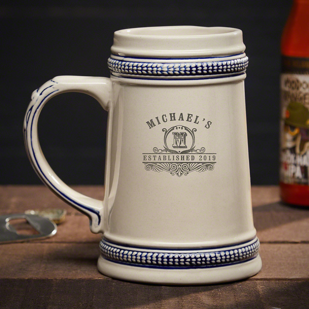 Carraway Engraved Ceramic Beer Stein