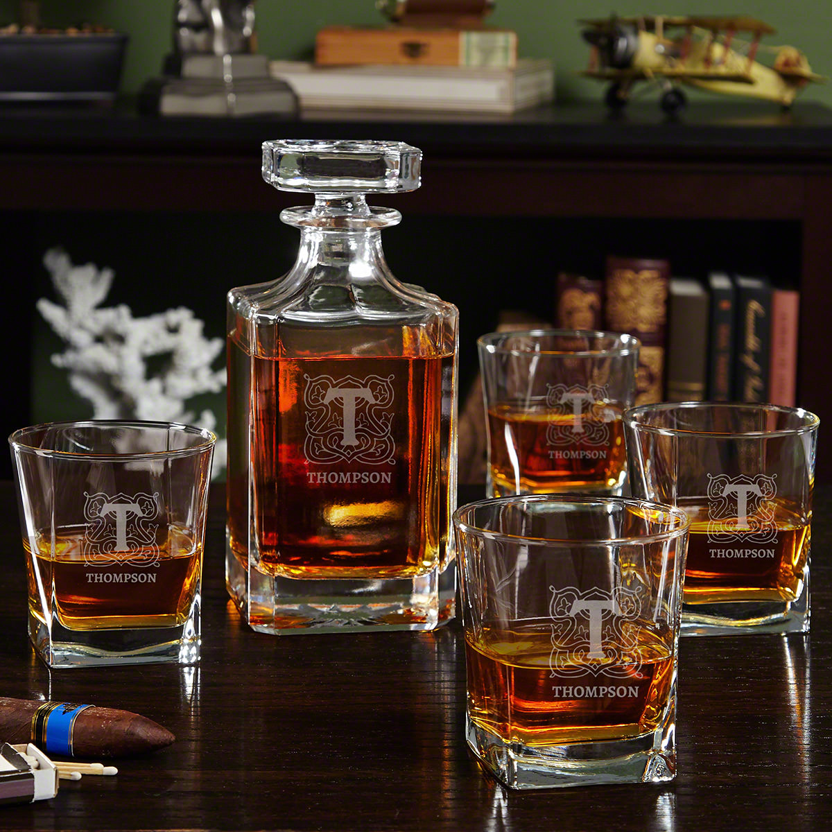 Brannon Personalized Whiskey Decanter Set with Carson Decanter and Square Rocks Glasses