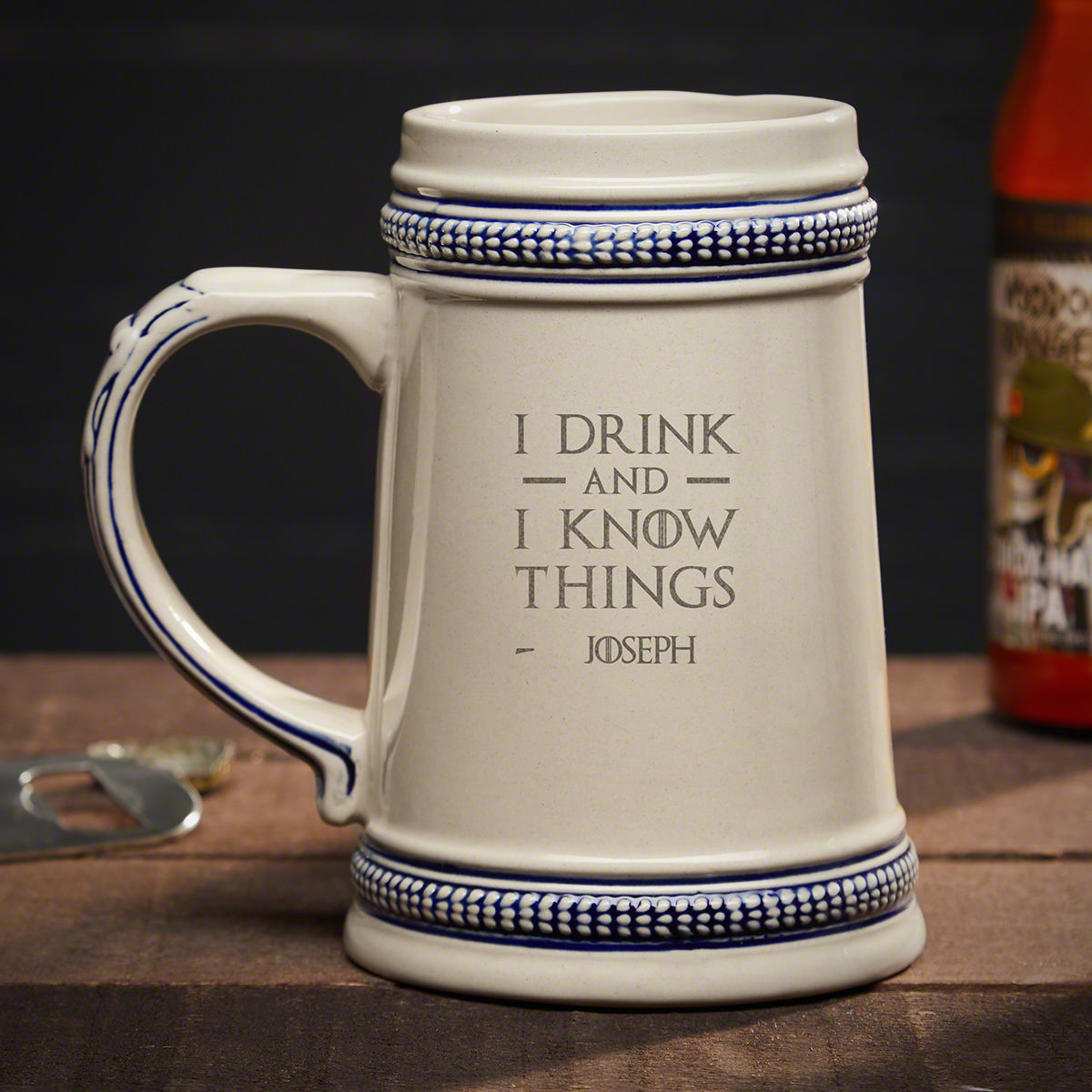I Drink and I Know Things Personalized Beer Stein