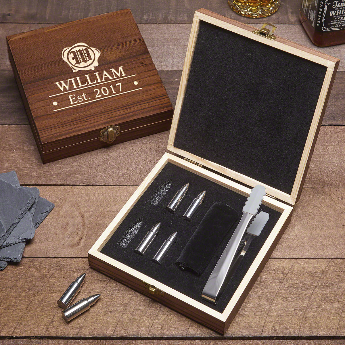 Wax-Seal-Engraved-Gift-Set-with-Bullet-Whiskey-Stones