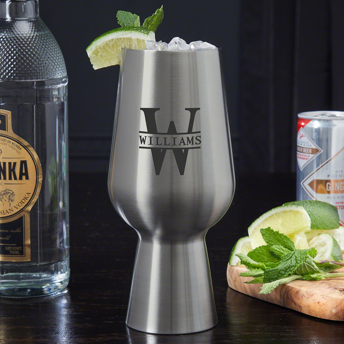 Oakmont Personalized Stainless Steel Unique Cocktail Glass