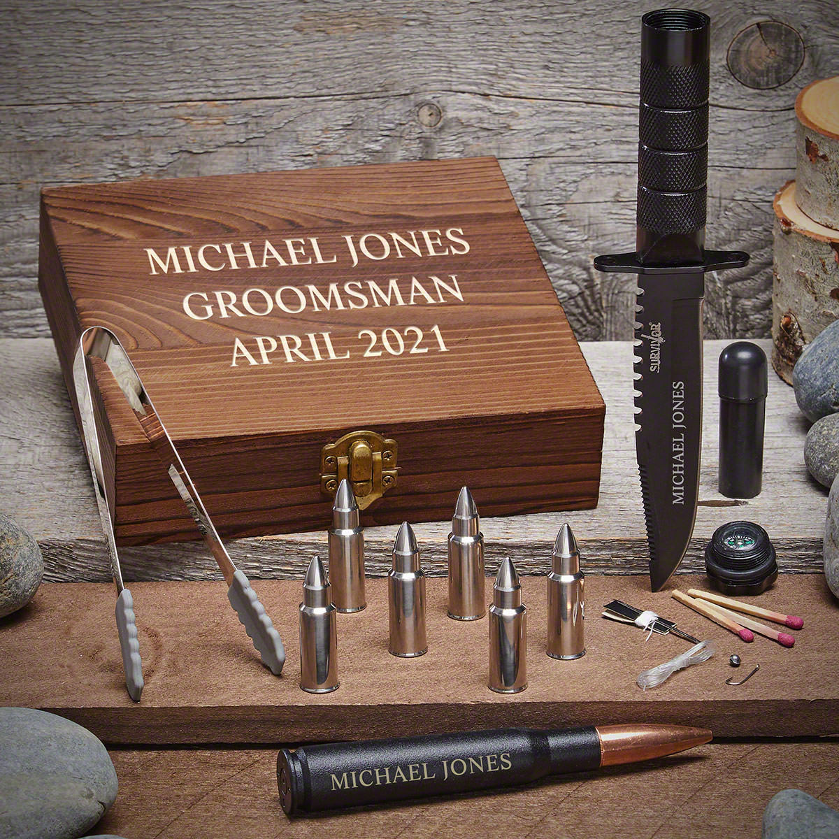 Personalized Whiskey Bullet Stones & Tactical Knife Set