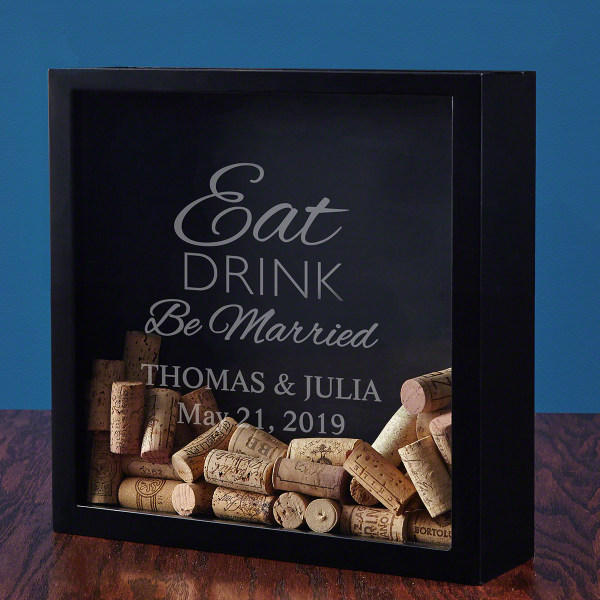 Eat Drink Be Married Personalized Shadow Box
