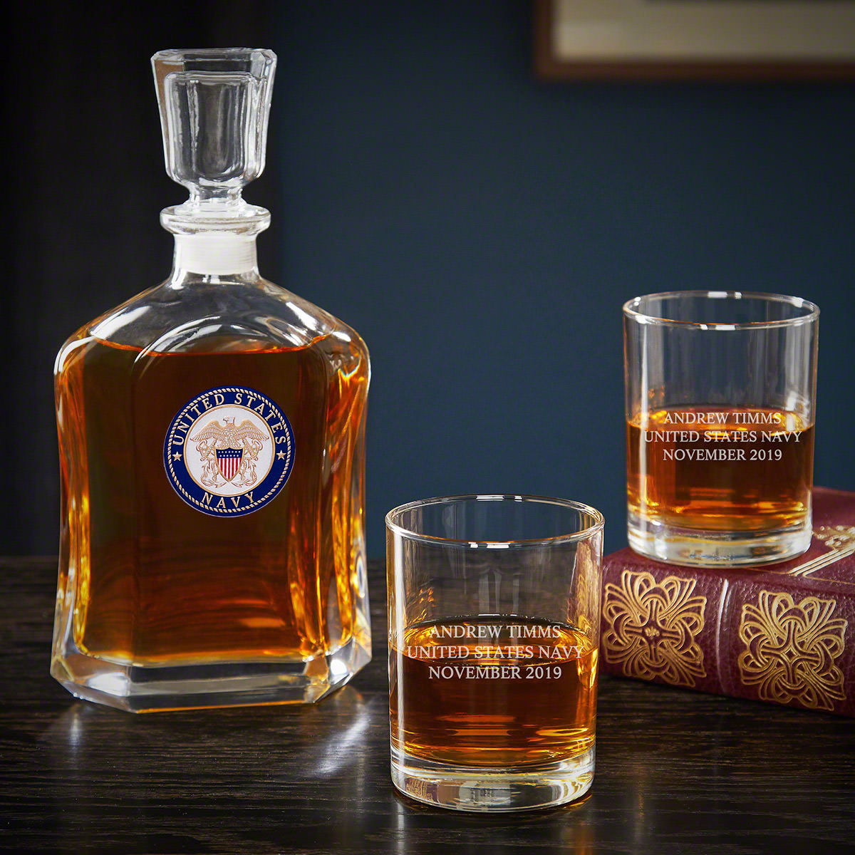 US Navy Personalized Argos Decanter and Eastham Glasses - Gift for Navy