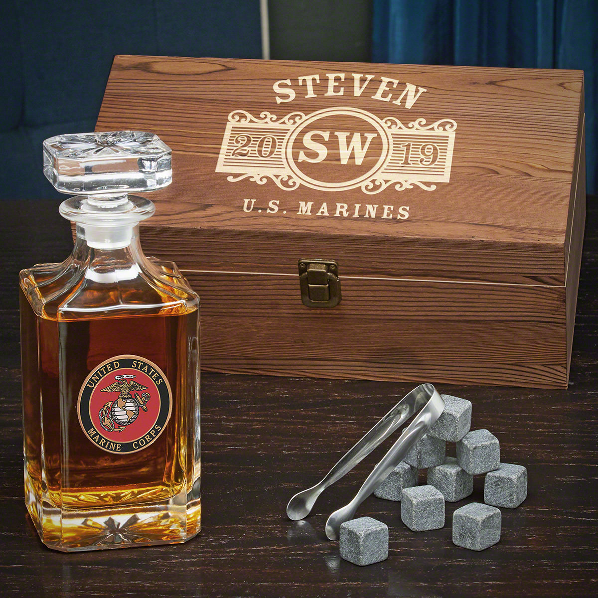 US Marines Marquee Custom Carson Whiskey Decanter Set - Gift for Marines