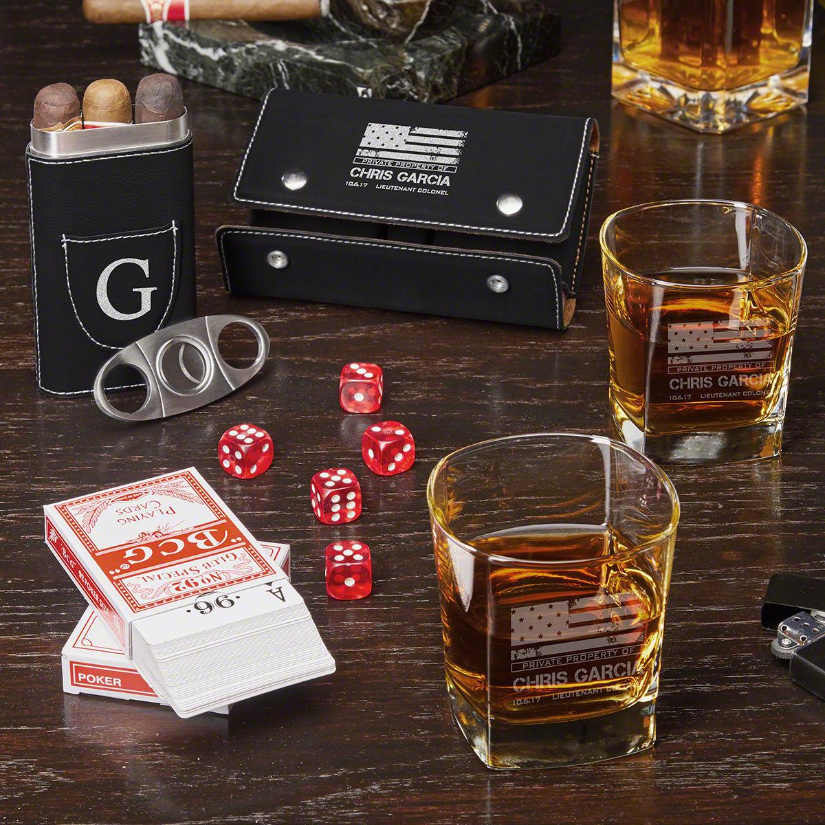 Game Night American Heroes Custom Whiskey Glasses & Black Cigar Set – Military Gift