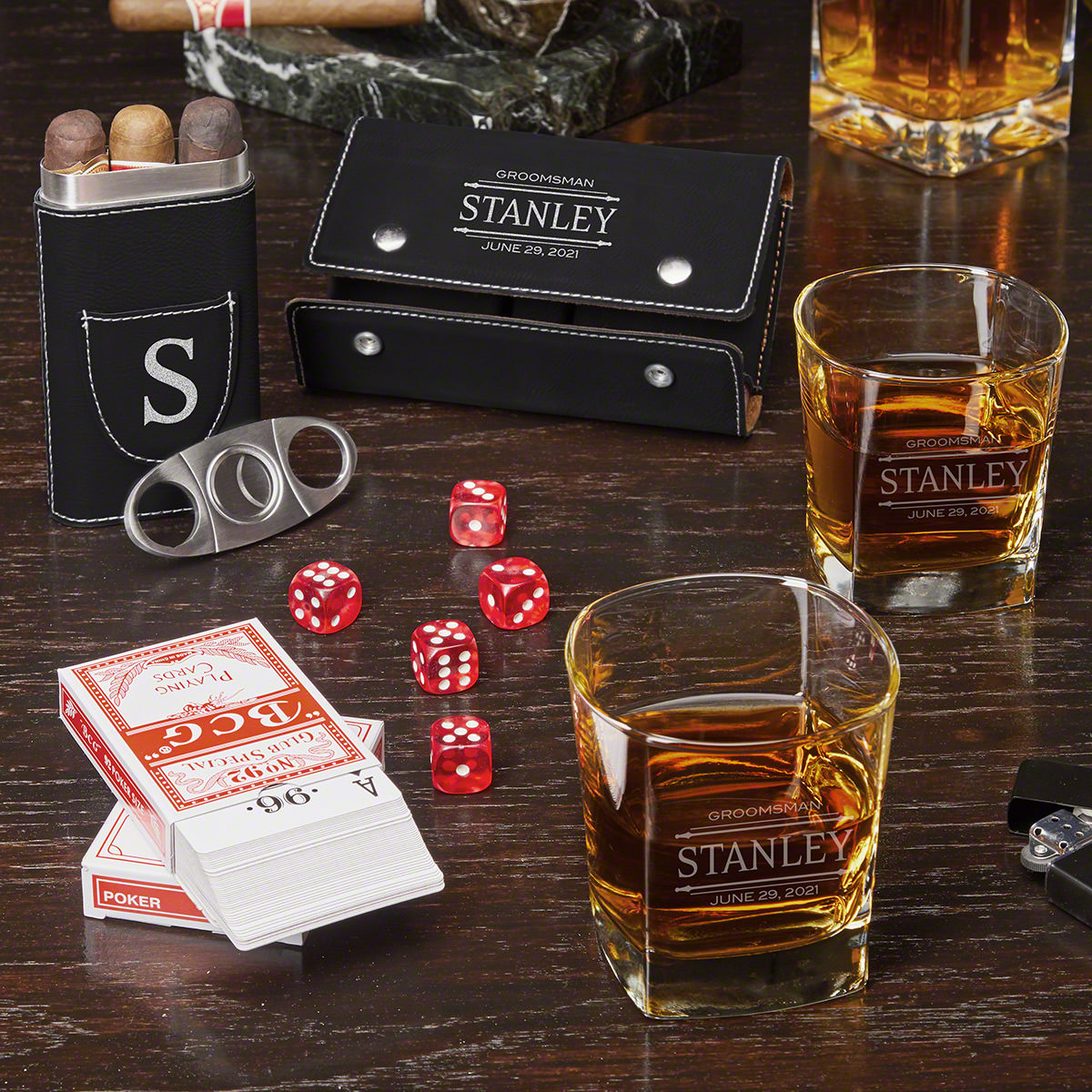 Game Night Stanford Custom Whiskey Glasses with Cigar Case and Game Set