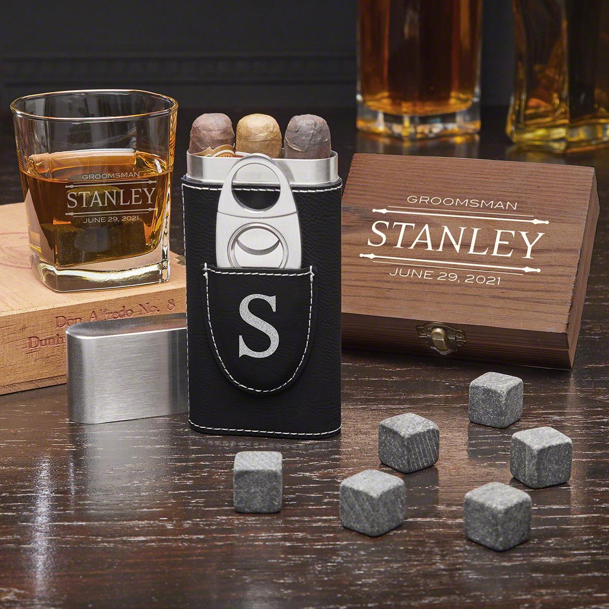 Suave Spirit Stanford Custom Whiskey & Cigar Groomsmen Gift Set