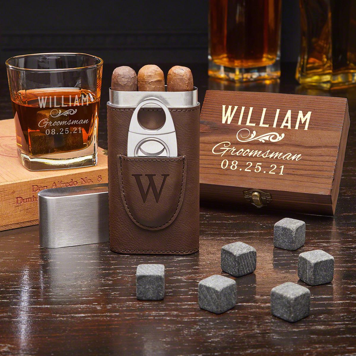 Classic Groomsman Custom Whiskey & Cigar Set – Groomsmen Gift Set