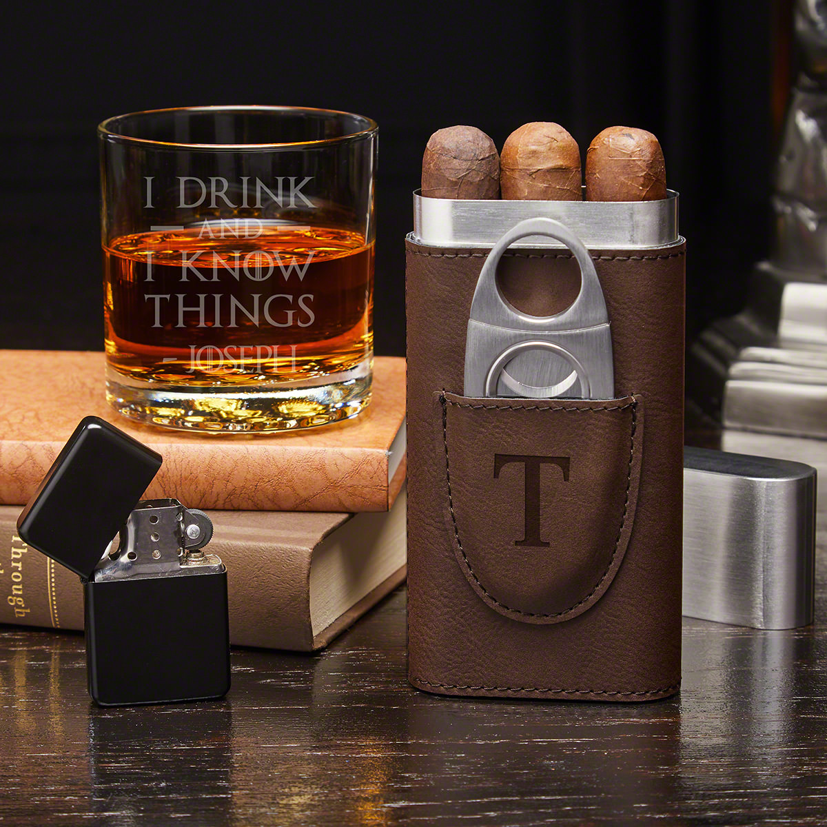 I Drink and I Know Things Personalized Cigar Gift Set with Buckman Glass