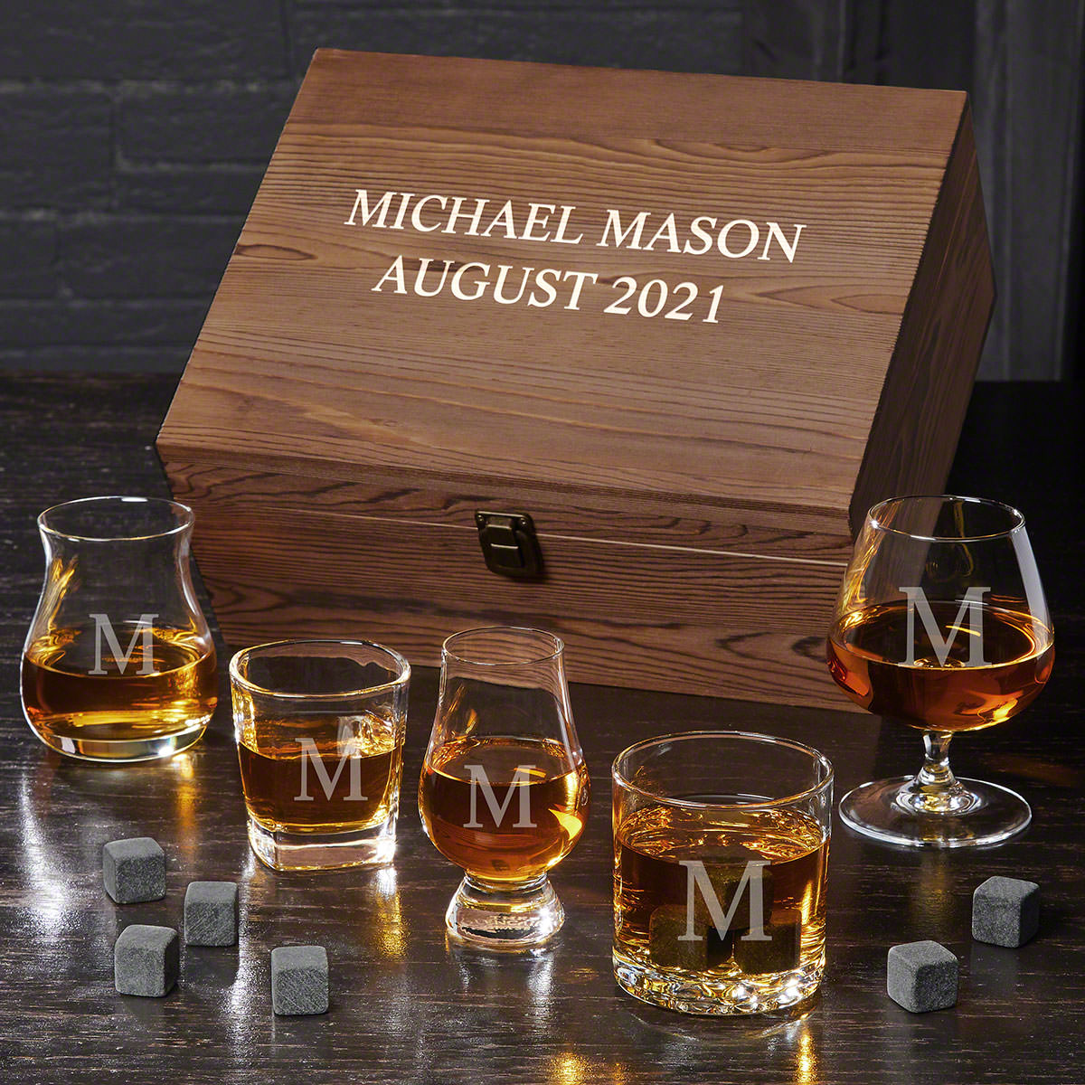 Personalized Ultimate Whiskey Glass Gift Set with Whiskey Stones