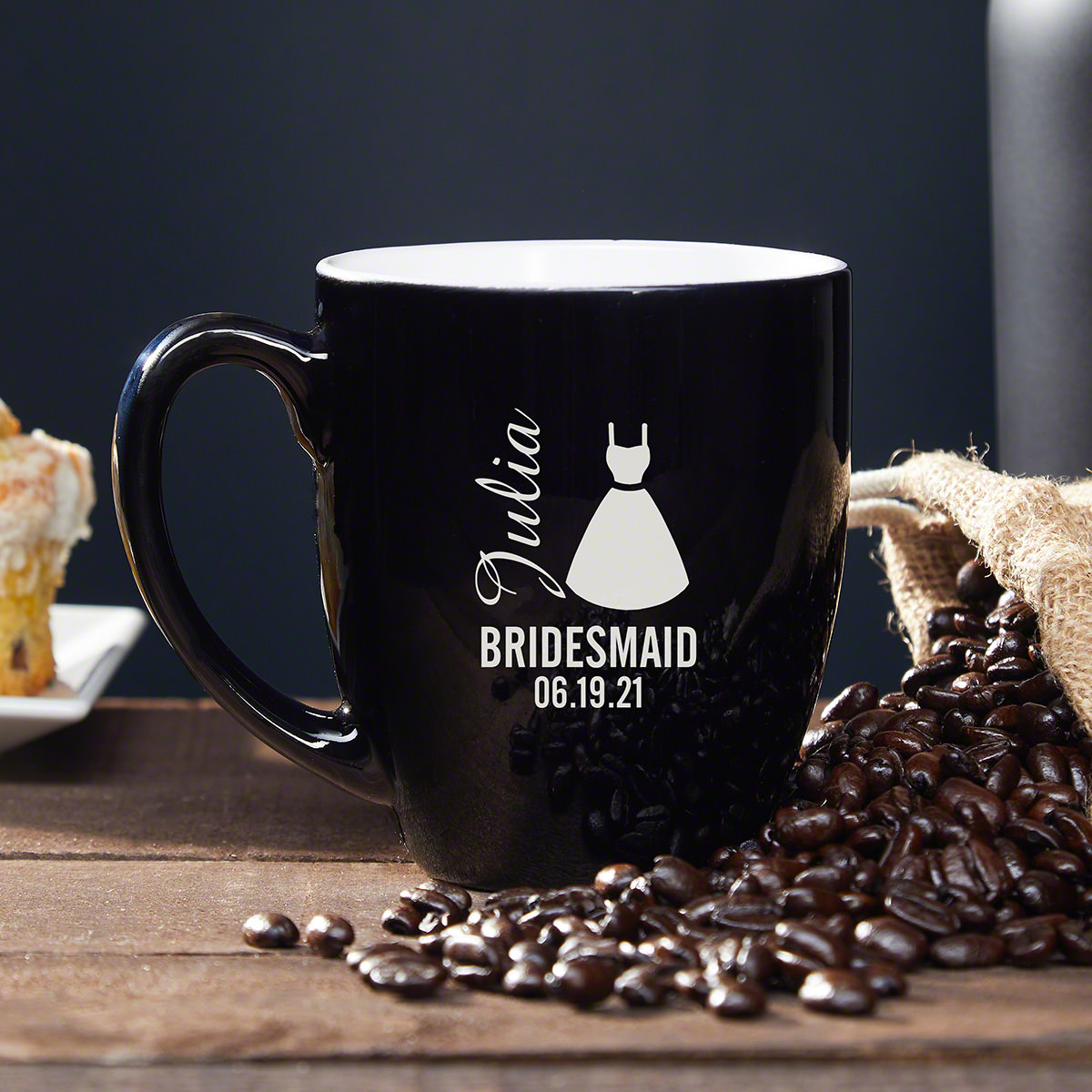 Your bridesmaids are your besties and you want to give them something special to thank them for their years of friendship and for being by your side on your big day. Our personalized coffee mug is the perfect bridesmaid gift! Your girls drink tea, coffee, #mug