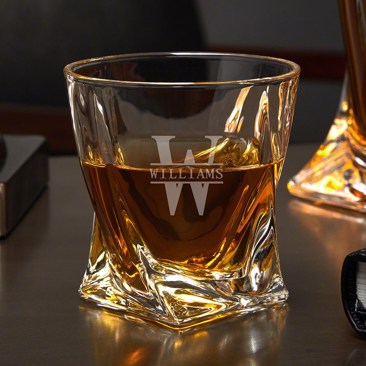 Oakmont Engraved Twist Unique Whiskey Glass