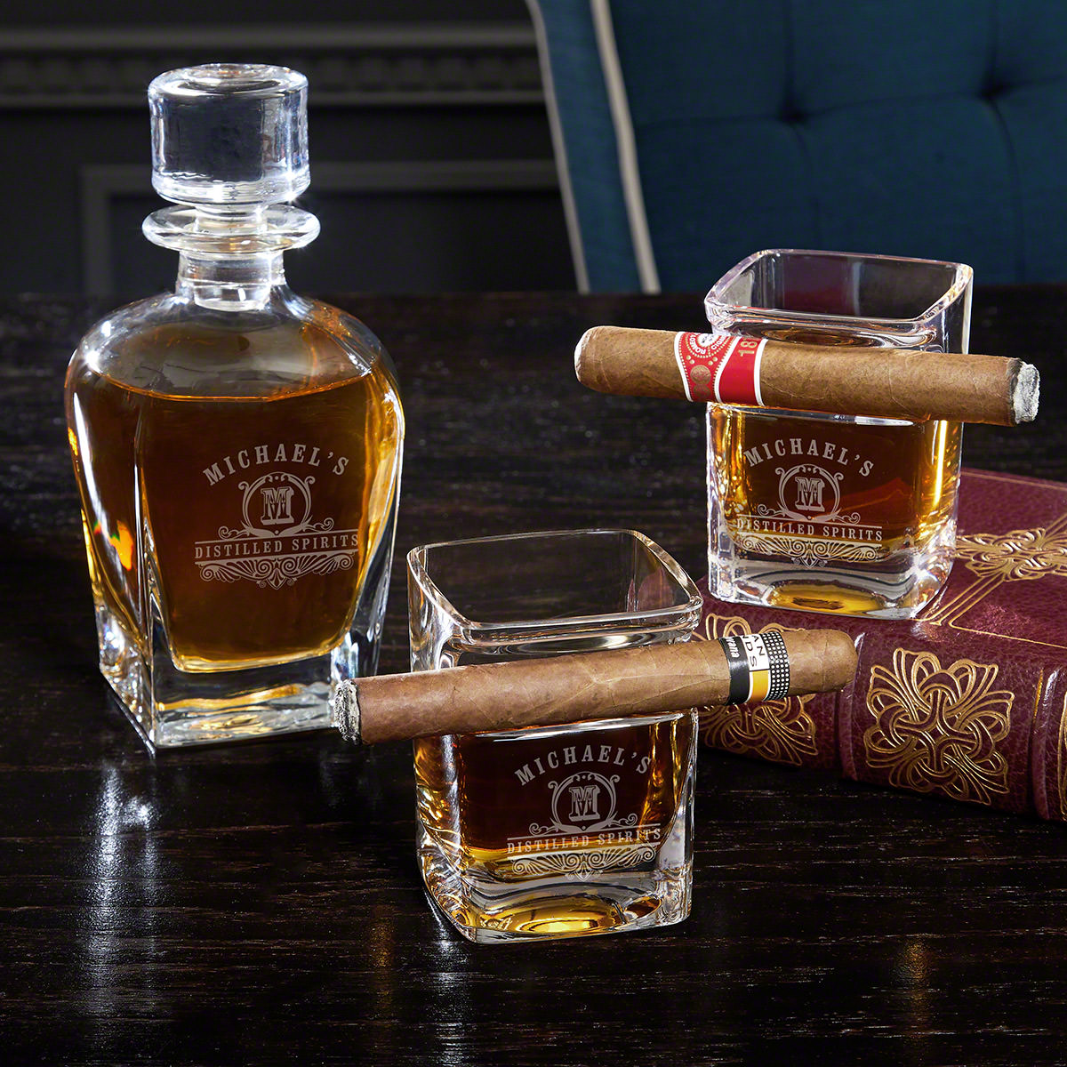 Carraway Engraved Whiskey Decanter Set with Cigar Glasses