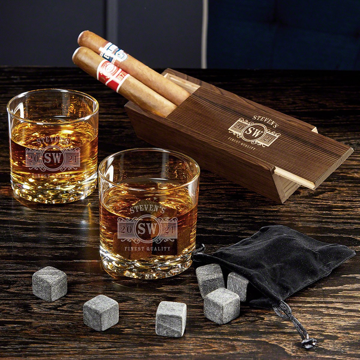 Marquee Custom Cigar and Bourbon Glass Set with Buckman Glasses