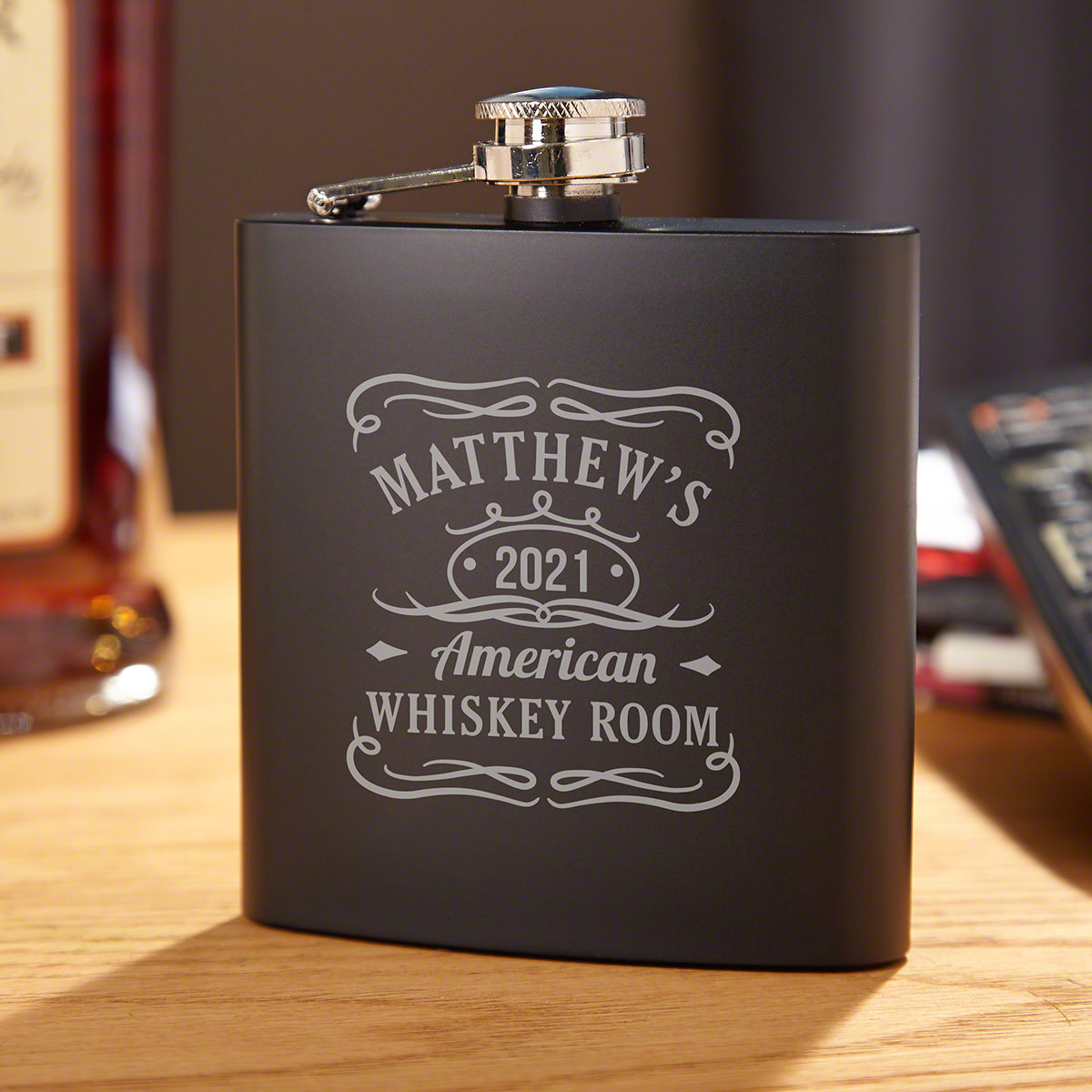 Tennessee Whiskey Personalized Blackout Flask for Men