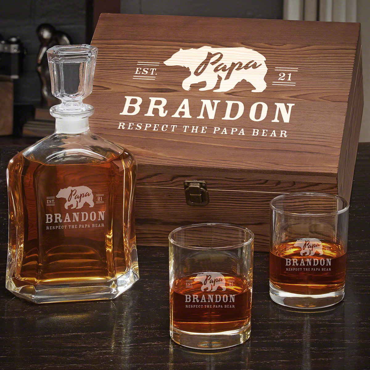 Papa Bear Bourbon Decanter Gift for Dad With Eastham Glasses
