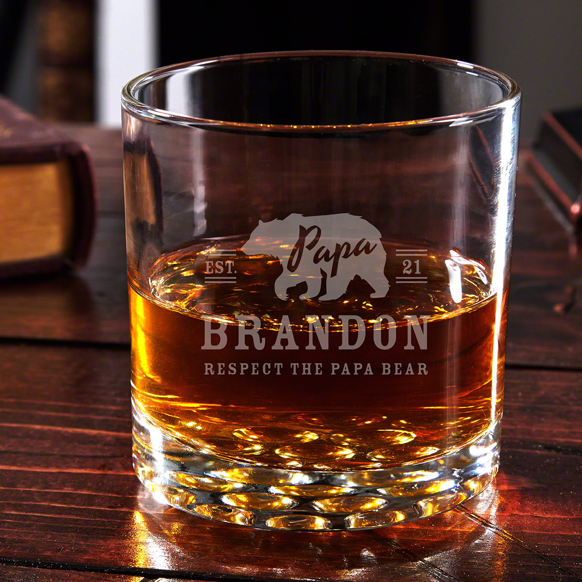 Papa Bear Personalized Bourbon Glass - Gift for Dad