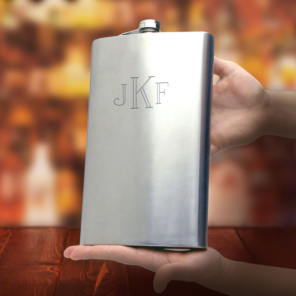 b560837e265 Giant WP85D8CE5 Extremely Large Monogrammed Flask BEA43C6DC31 2nd  Anniversary Gifts for Him Flasks Men