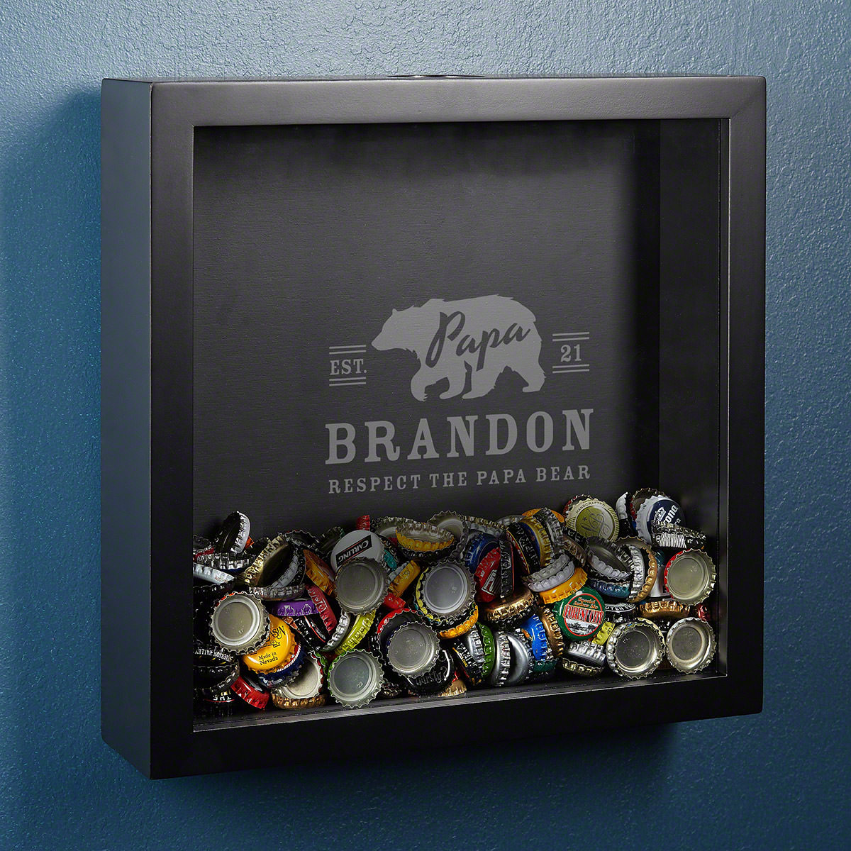 Papa Bear Engraved Shadow Box Dad Gift