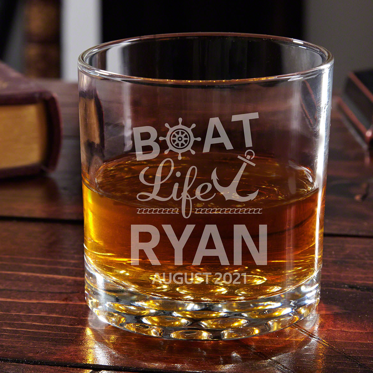 Though boat captains are often thought of as rum drinkers, you stand out with your personalized whiskey glass. As the captain of your own ship you drink what you damn well please! Make this glass yours with two lines of text to make sure everyone knows th #best