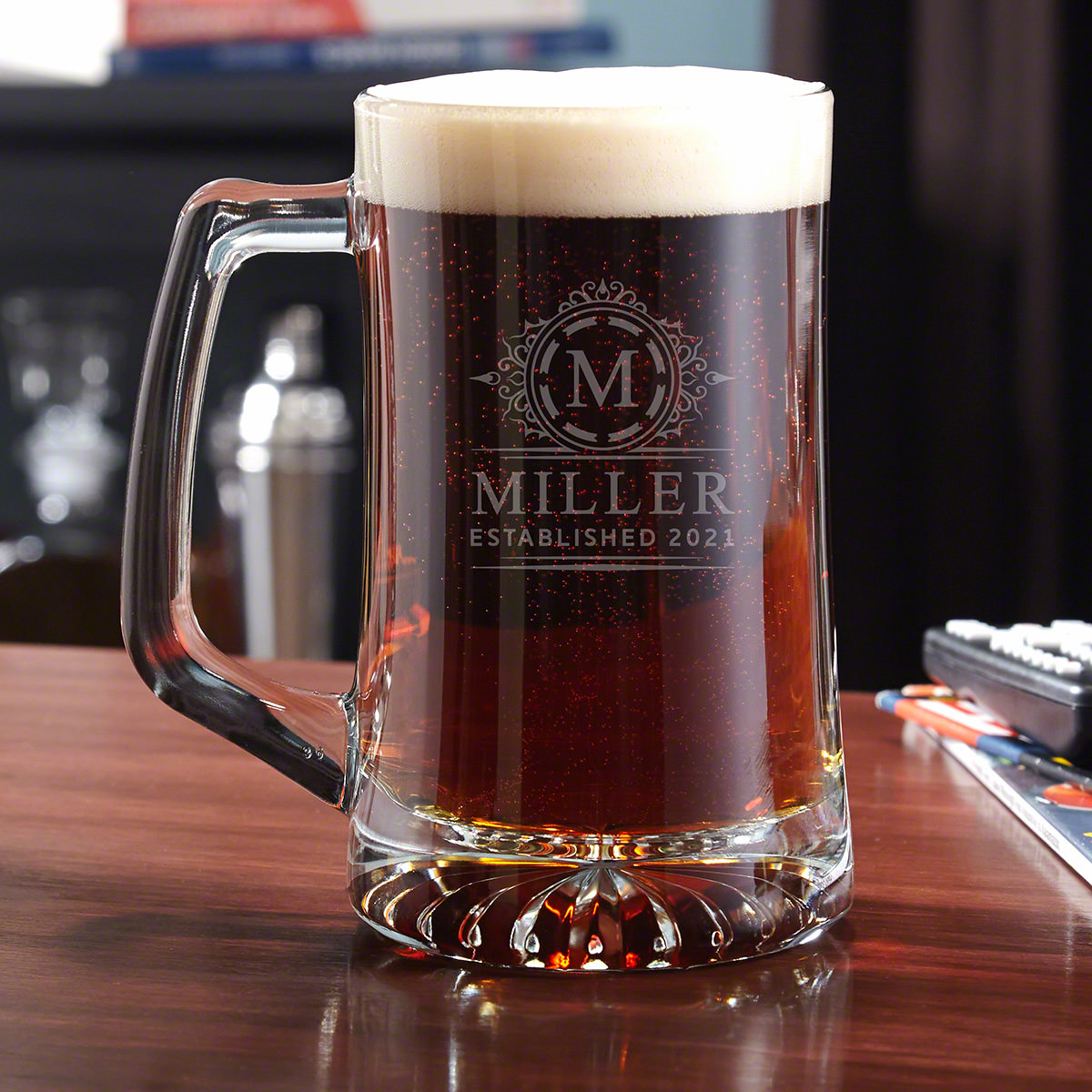 Don't ever settle for drinking out of a bottle or a can ever again when you can enjoy your beer from a personalized beer mug! This hefty mug has extra thick glass to insulate your drink so that you can enjoy every last drop at the perfect, chilled tempe #mug