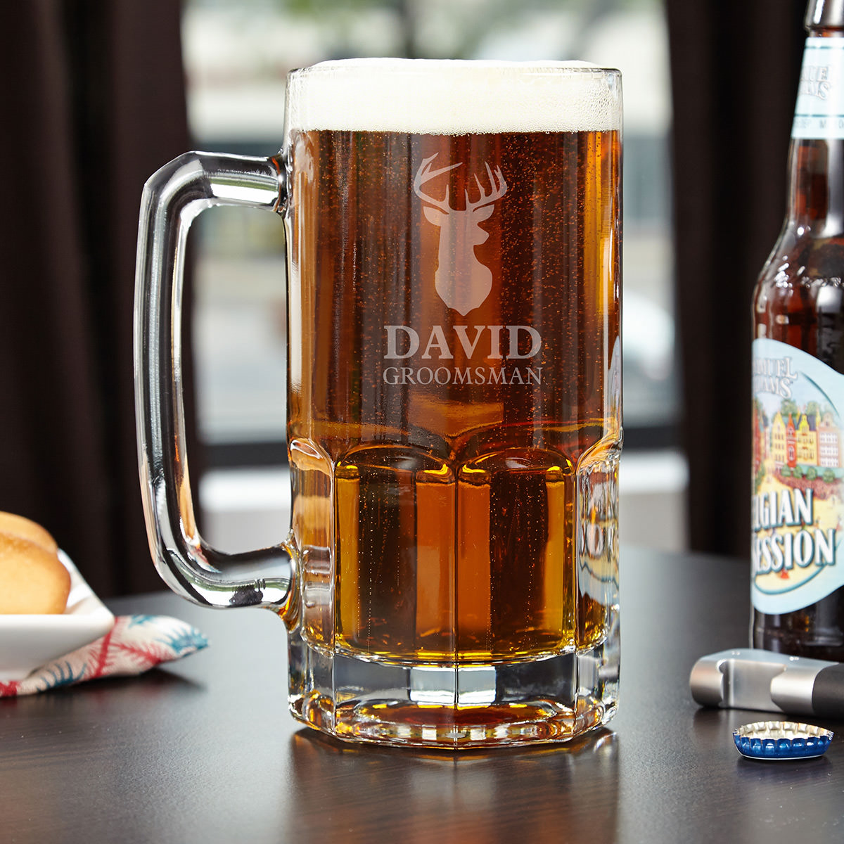 Nothing makes a guy look more masculine than drinking a beer from a giant beer mug. It gives you the feeling of being a long-haired bearded Viking. Make Odin proud with an engraved beer mug even he would drink from! Give this feeling of manhood to the mos #mug